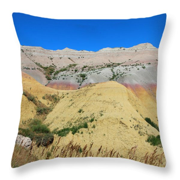 Yellow Mounds Badlands National Park Throw Pillow by Jemmy Archer