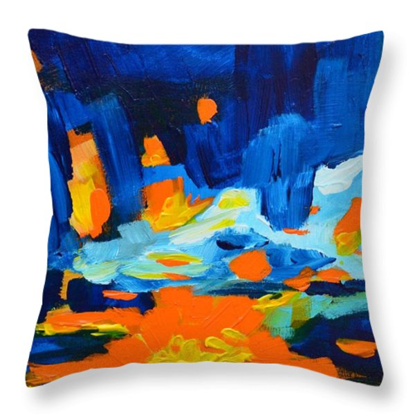 Yellow orange blue sunset Landscape Throw Pillow by Patricia Awapara