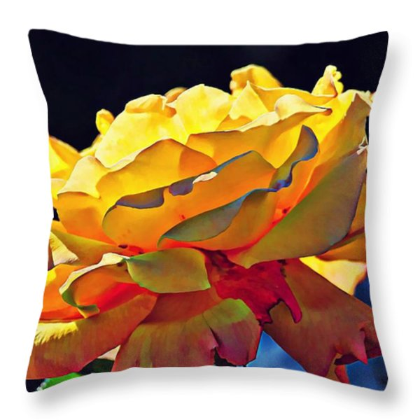 Yellow Rose Series - Crispy Throw Pillow by Lilia D