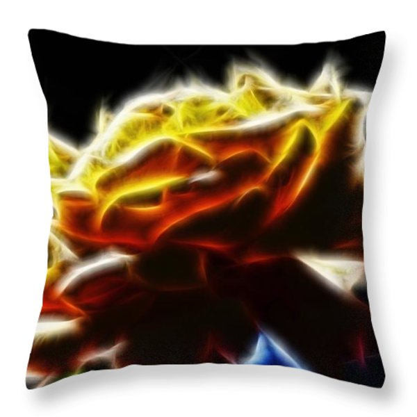 Yellow Rose Series - Neon Fractal Throw Pillow by Lilia D