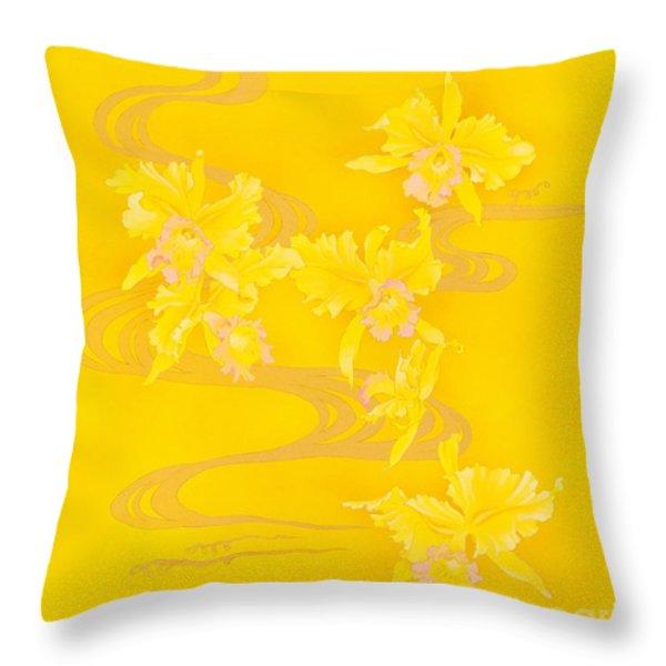 Yellow Stream Throw Pillow by Haruyo Morita
