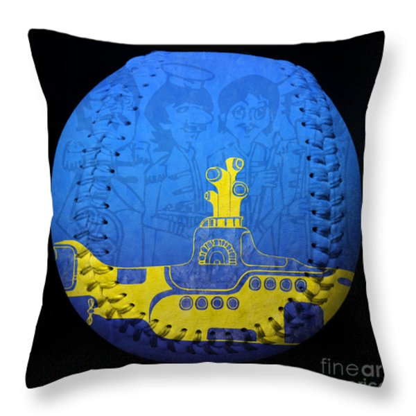 Yellow Submarine 2 Baseball Square Throw Pillow by Andee Design