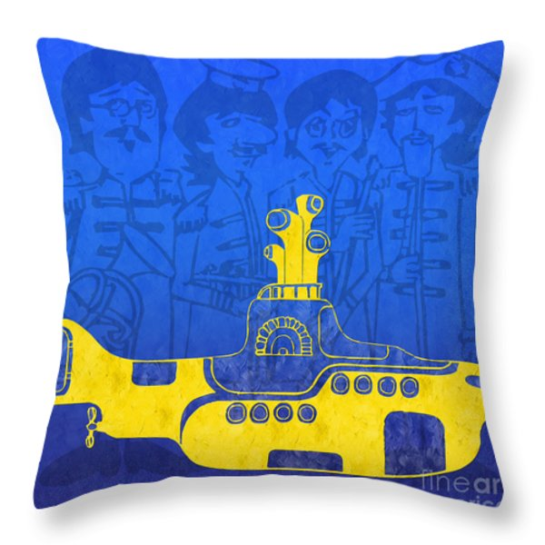 Yellow Submarine Throw Pillow by Andee Design