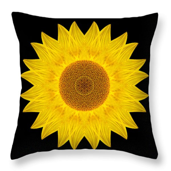 Yellow Sunflower Ix Flower Mandala Throw Pillow by David J Bookbinder