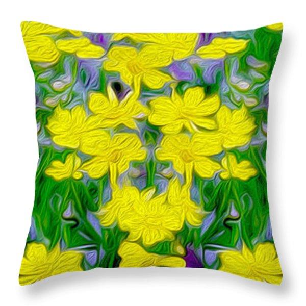 Yellow Wild Flowers Throw Pillow by Jon Neidert