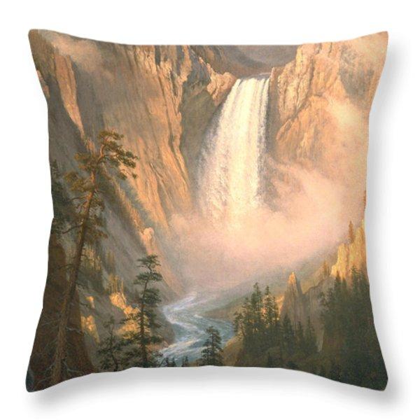 Yellowstone Throw Pillow by Albert Bierstadt