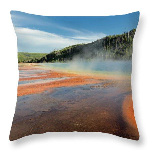 Yellowstone Geyser Throw Pillow by Mountain Dreams