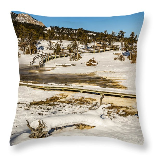 Yellowstone Hot Spring Throw Pillow by Sue Smith