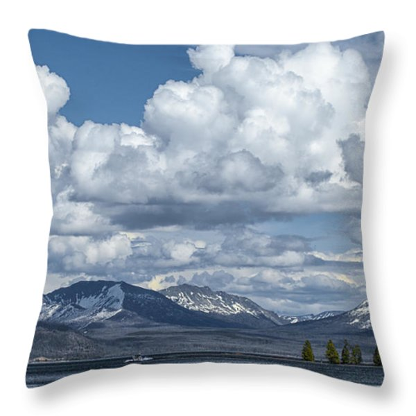 Yellowstone Lake Cloudscape Throw Pillow by Sandra Bronstein