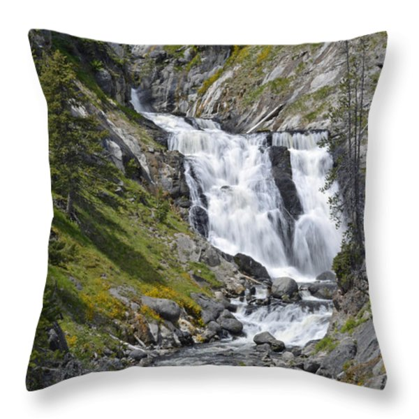 Yellowstone's Mystic Falls With Spring Flowers Throw Pillow by Bruce Gourley