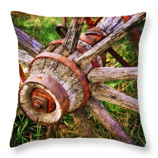 Yesterday's Wheel Throw Pillow by Marty Koch