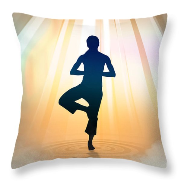 Yoga Balance Throw Pillow by Bedros Awak