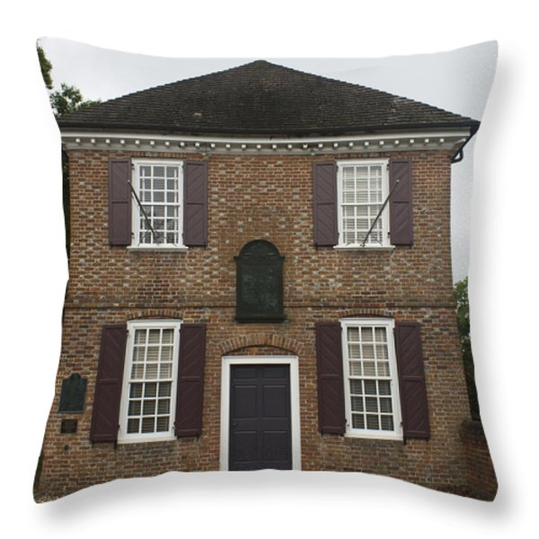 Yorktown Customs House Throw Pillow by Teresa Mucha