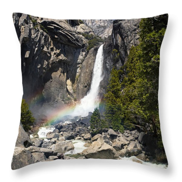 Yosemite falls rainbow Throw Pillow by Jane Rix
