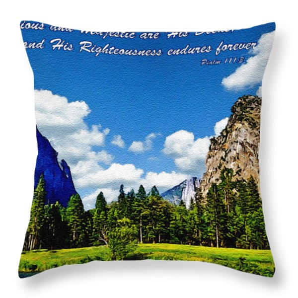 Yosemite Gods Country Throw Pillow by  Bob and Nadine Johnston