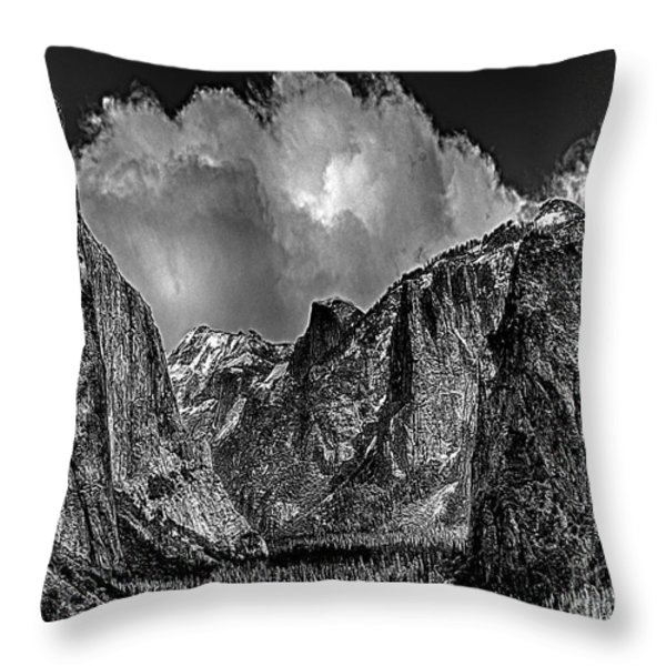 Yosemite Valley From Tunnel Throw Pillow by Bob and Nadine Johnston