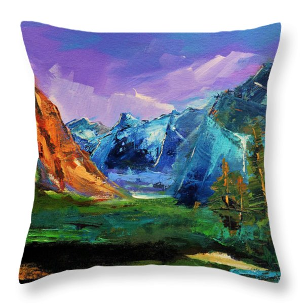 Yosemite Valley - Tunnel View Throw Pillow by Elise Palmigiani