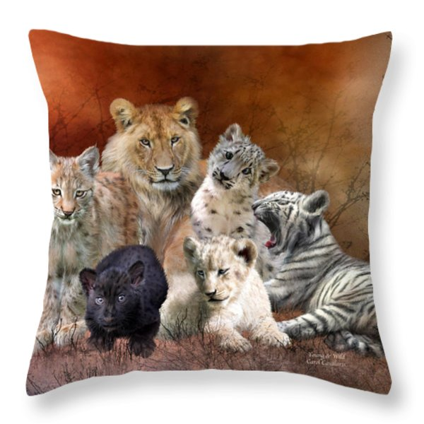 Young And Wild Throw Pillow by Carol Cavalaris