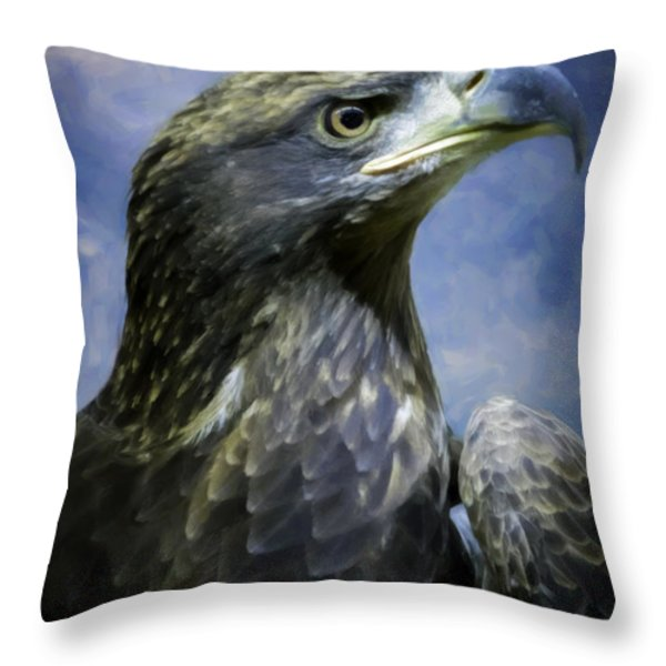 Young Bald Eagle V2 Throw Pillow by F Leblanc