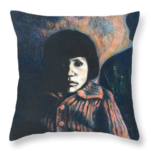 Young Girl Throw Pillow by Kendall Kessler