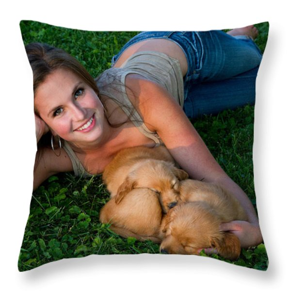 Young Woman And Golden Retriever Puppies Throw Pillow by Linda Freshwaters Arndt