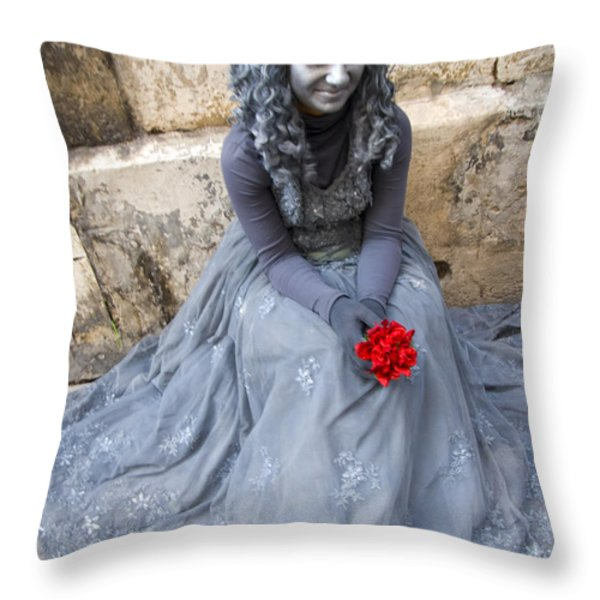 Young Woman Busker In Syracusa Sicily Throw Pillow by David Smith