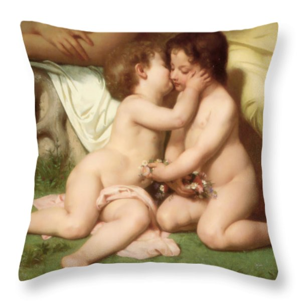 Young woman contemplating two embracing children detail Throw Pillow by William Bouguereau