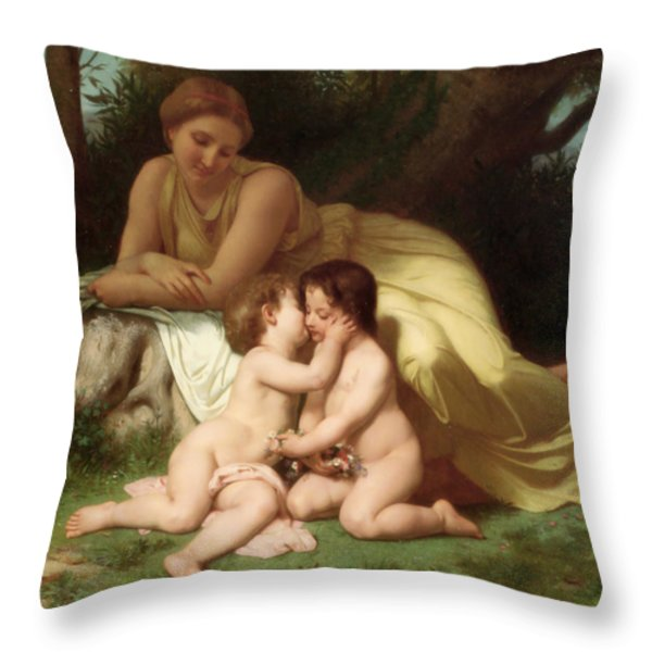 Young woman contemplating two embracing children Throw Pillow by William Bouguereau