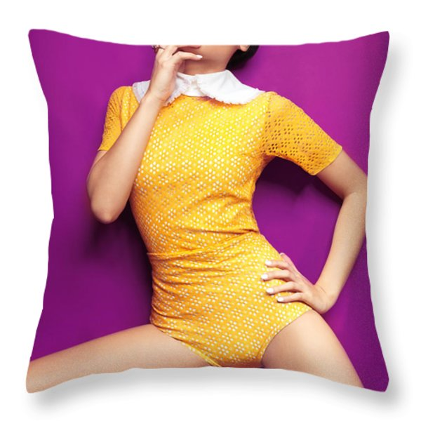 Young Woman In Bright Yellow Vintage Style Clothes Throw Pillow by Oleksiy Maksymenko