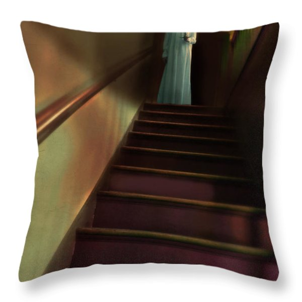 Young Woman in Nightgown on Stairs Throw Pillow by Jill Battaglia