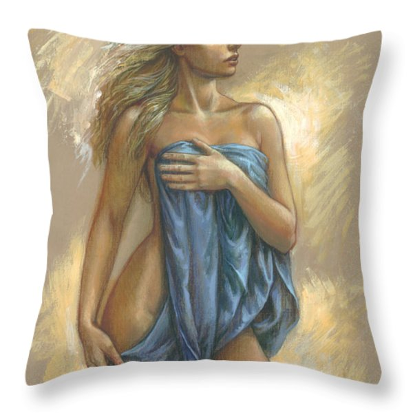 Young Woman With Blue Drape Throw Pillow by Zorina Baldescu