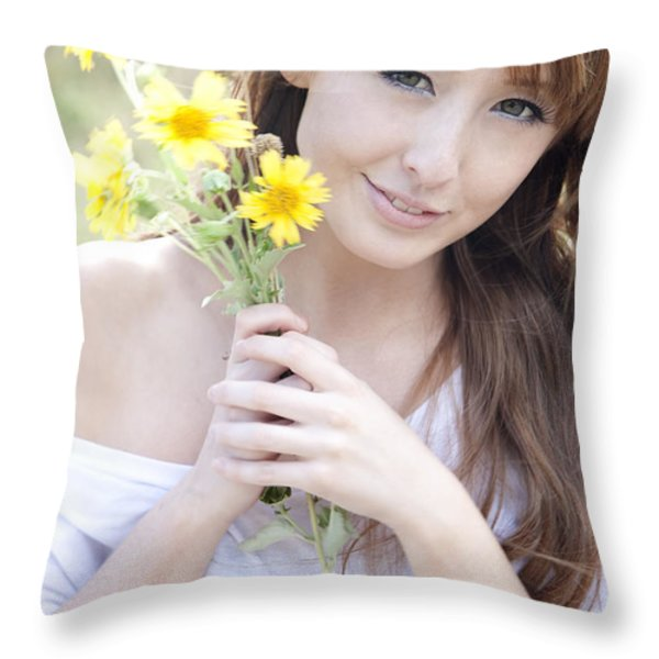 Young Woman with Flowers Throw Pillow by Brandon Tabiolo