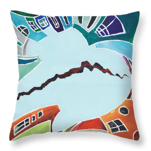 Your Reality Or Mine. Realities Vis-a-vis Or When A Rupture Matters Throw Pillow by Elisabeta Hermann