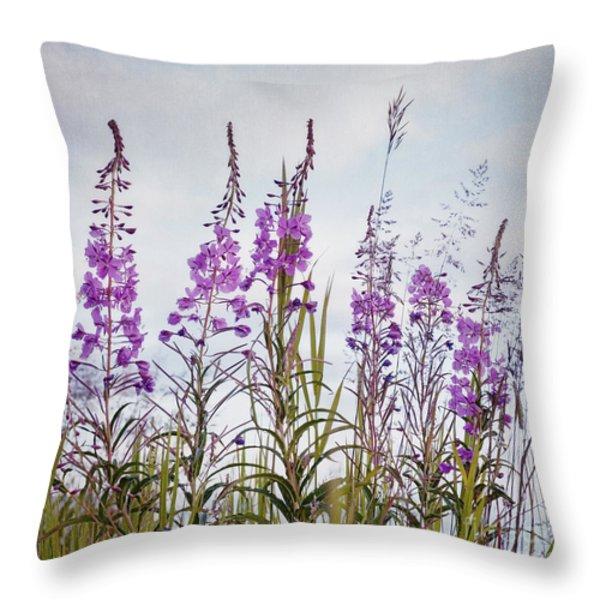 Yukon State Flower Throw Pillow by Priska Wettstein