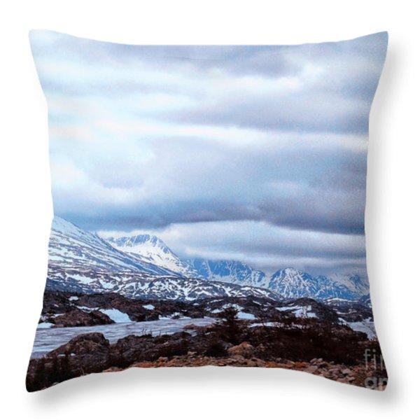 Yukon Territory Flowing River Throw Pillow by Gena Weiser