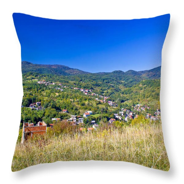 Zagreb hillside green zone nature Throw Pillow by Dalibor Brlek