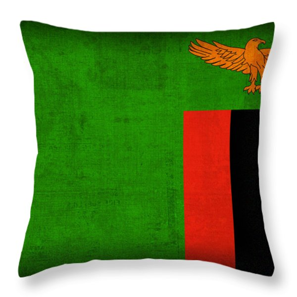 Zambia Flag Distressed Vintage Finish Throw Pillow by Design Turnpike