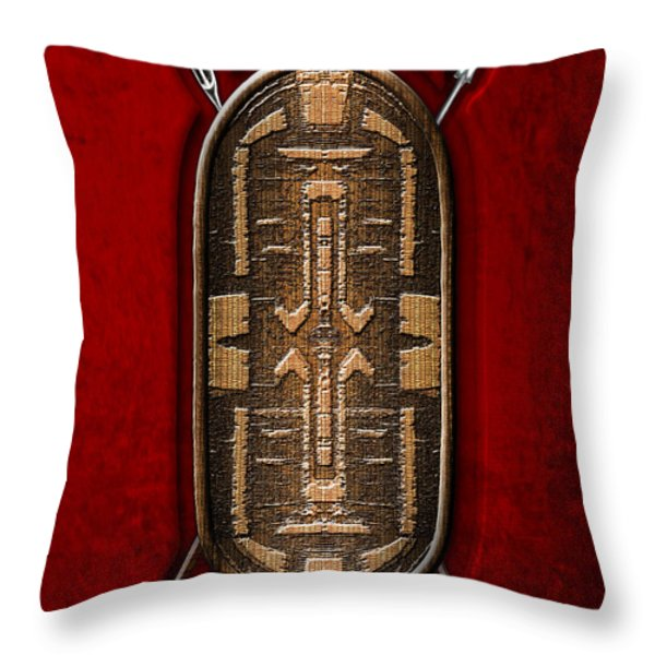 Zande War Shield with Spears on Red Velvet  Throw Pillow by Serge Averbukh