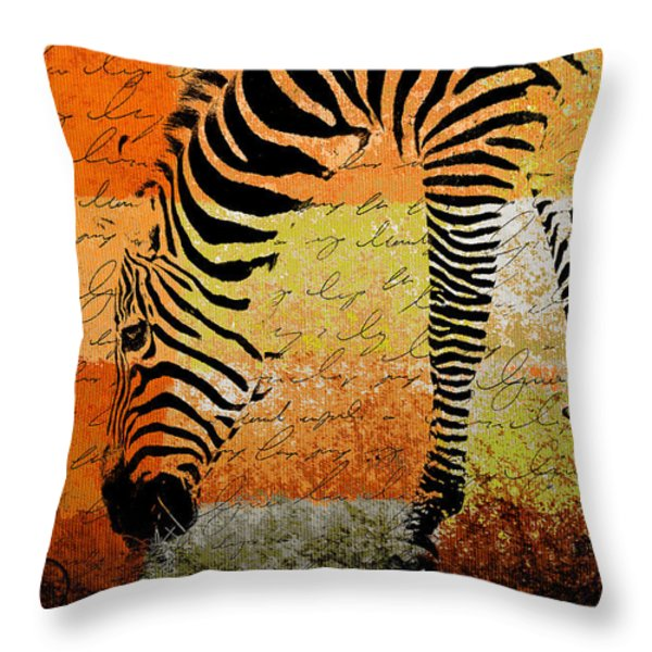 Zebra Art - Rng02t01 Throw Pillow by Variance Collections