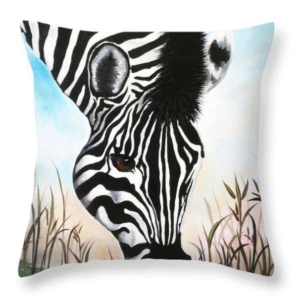Zebra Throw Pillow by Danise Abbott