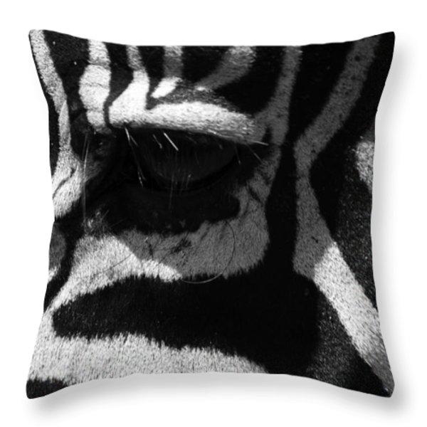 Zebra Eye Throw Pillow by Aidan Moran