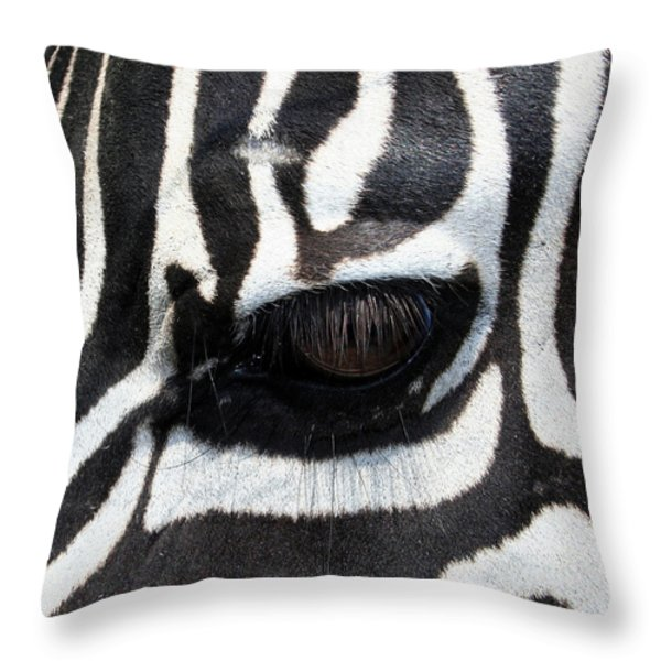 Zebra Eye Throw Pillow by Linda Sannuti