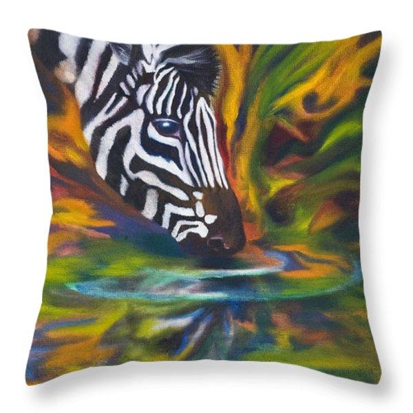 Zebra Throw Pillow by Kd Neeley