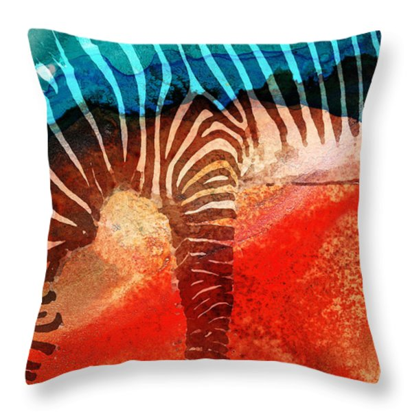 Zebra Love - Art By Sharon Cummings Throw Pillow by Sharon Cummings