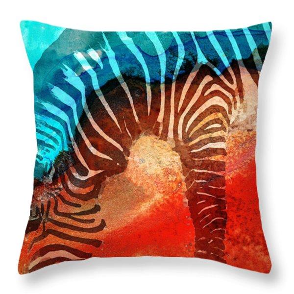 Zebra Love - Art By Sharon Cummings Throw Pillow by Sharon Cummings