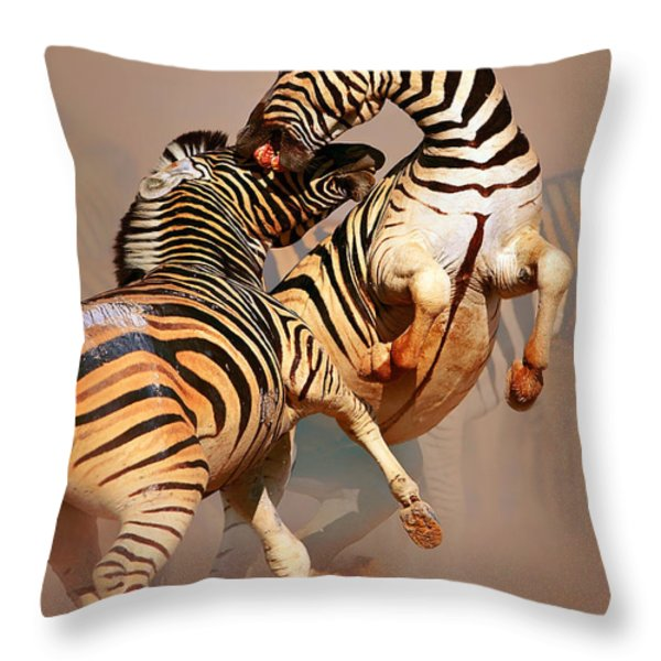 Zebras Fighting Throw Pillow by Johan Swanepoel