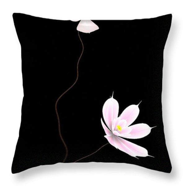 Zen Flower Twins With A Black Background Throw Pillow by GuoJun Pan