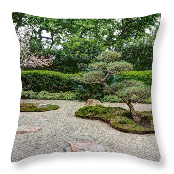 Zen Rock Garden Throw Pillow by Heidi Smith