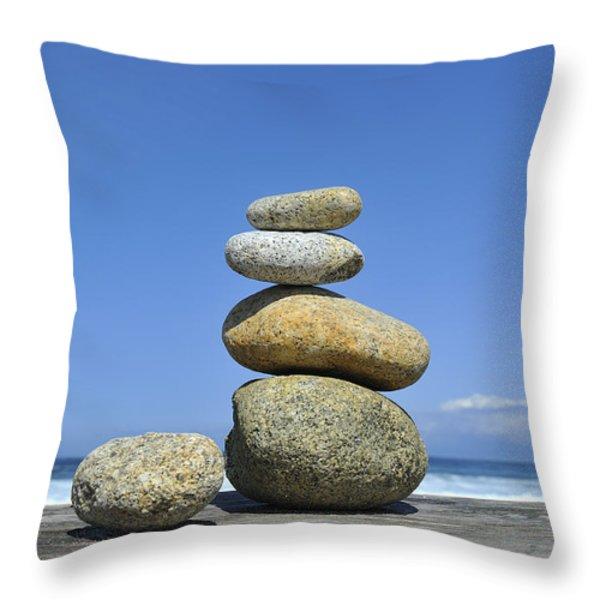 Zen Stones I Throw Pillow by Marianne Campolongo