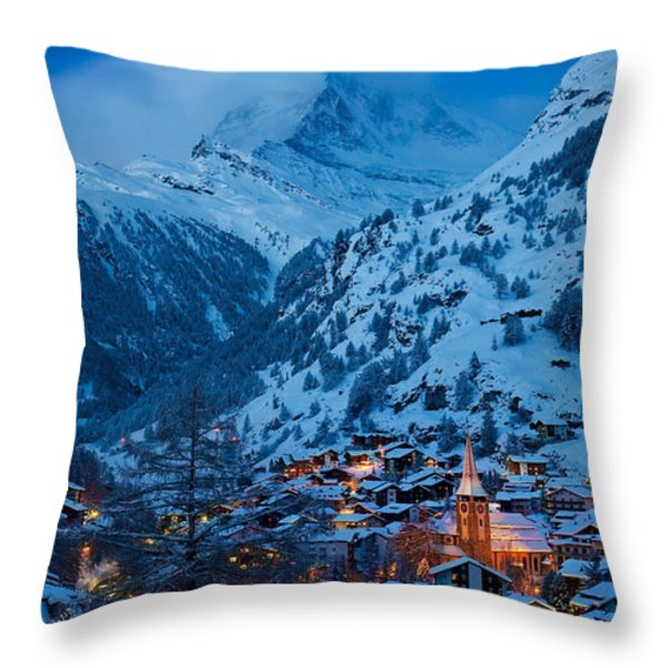 Zermatt - Winter's Night Throw Pillow by Brian Jannsen